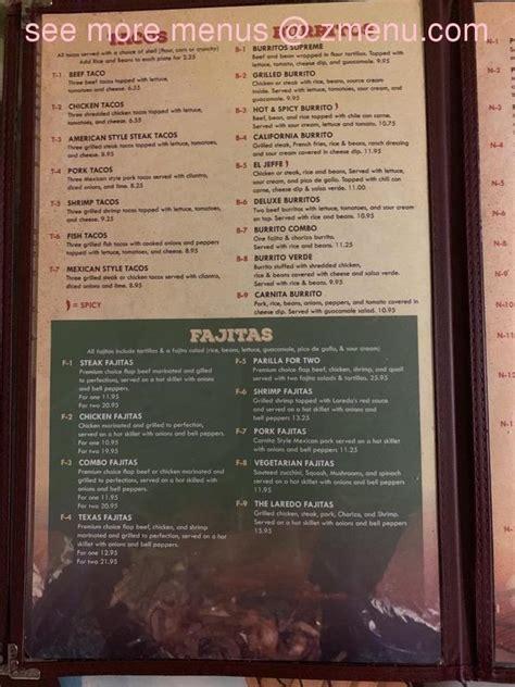 menu  laredo mexican restaurant restaurant