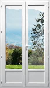 Porte fenetre avec soubassement 2 vantaux pvc isotop for Double porte fenetre