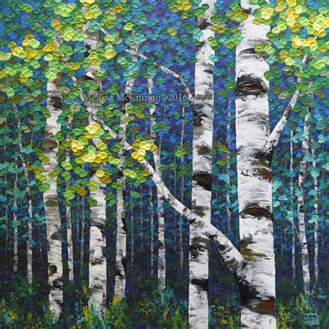 painting colourful spring forest birch  aspen tree