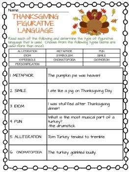 thanksgiving figurative language worksheet november middle school