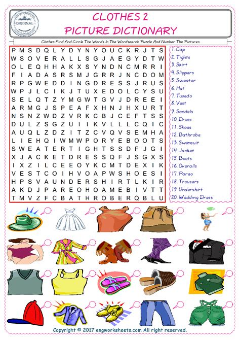 clothes esl printable english vocabulary worksheets