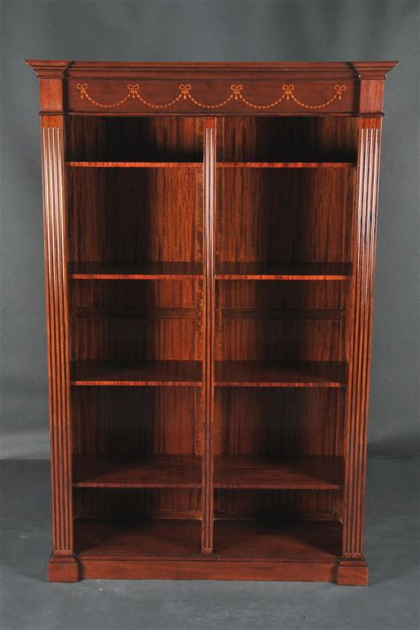 2 Ft Wide Bookcase by Sheraton Style Antique Reproduction Inlaid Mahogany Bookcase