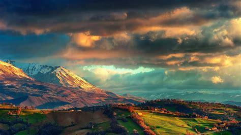 Mountain, Field, Hill, Clouds, Blue, Orange, Green