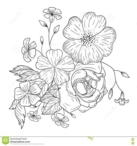 bouquet  flowers  coloring books stock vector