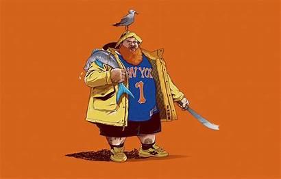 Action Bronson Knicks York Minimalism Fish Seagull