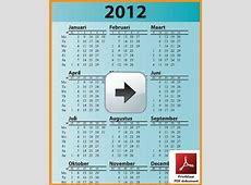 Kalenders 2012 Gratis Downloaden en Afdrukken Feestdagen