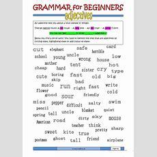 Grammar For Beginners Adjectives B Worksheet  Free Esl