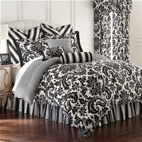 damask bedding symphony by rose tree designer oversize black and white comforter formal damask print 100