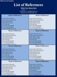 reference list template  formats excel word