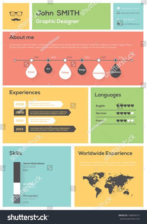 Illustration Resume by Flat Resume Infographics Timeline Vector Illustration Stock Vector 180834215