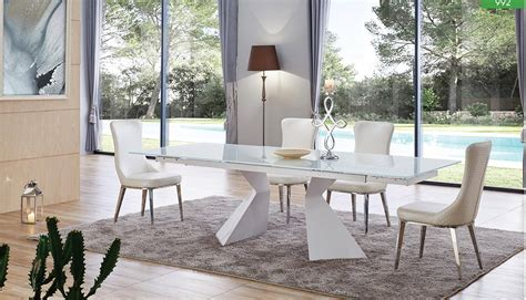 esf  dt white extendable glass dining table