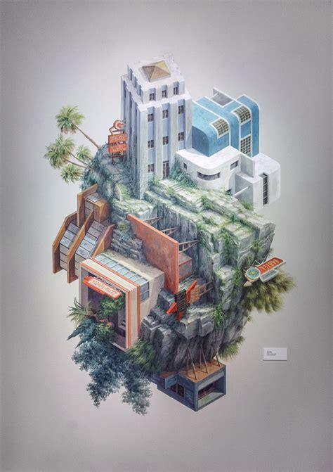 surreal architectural illustrations  cinta vidal agullo
