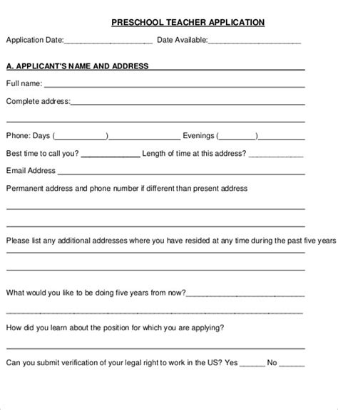 41 application letter templates format doc pdf free 711 | Preschool Teacher Application Letter