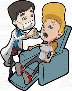 A Dentists Checking The Teeth Of A Woman Cartoon Clipart ...
