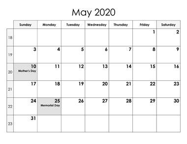 calendar printable template  holidays