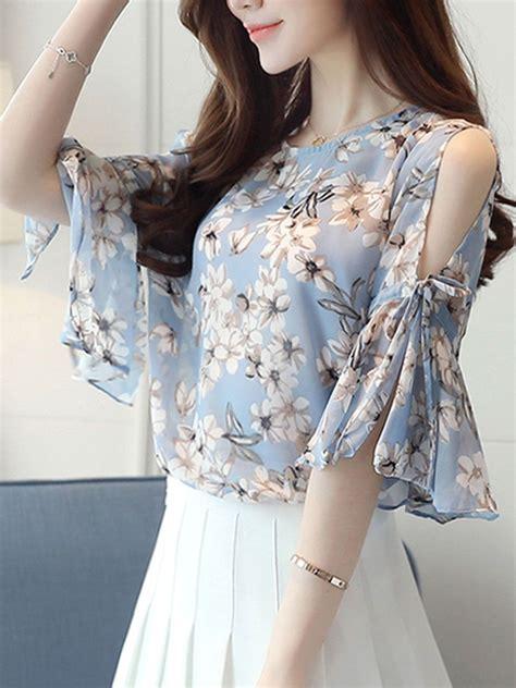 summer chiffon women open shoulder printed bell sleeve
