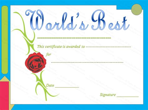 red rose themed worlds  award certificate template
