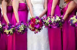fuchsia bridesmaid dress pink wedding on pink weddings pink bridesmaids and pink