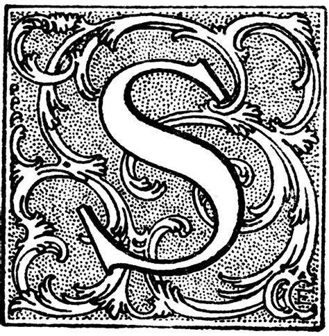 S, Floral Initial | ClipArt ETC