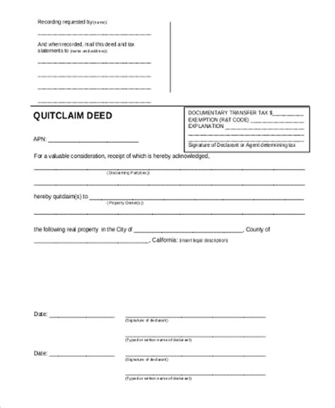 quick deed form free printable quit claim deed sle 7 free documents in word pdf