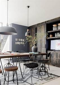 l39amenagement d39une salle a manger style industriel en 48 With meuble de salle a manger avec tapis esprit scandinave