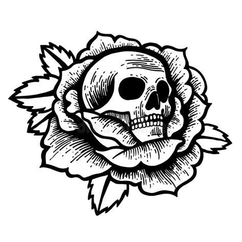 school rose tattoo  skull stock vector illustration  beautiful horror