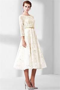 Robe Mi Longue Mariage : vintage robe de mariage mi longue en dentelle guipure florale avec manche ~ Melissatoandfro.com Idées de Décoration