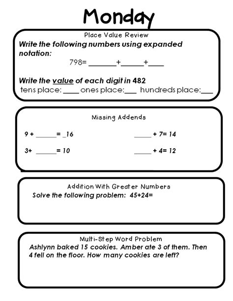 third grade math spiral review worksheets math spiral