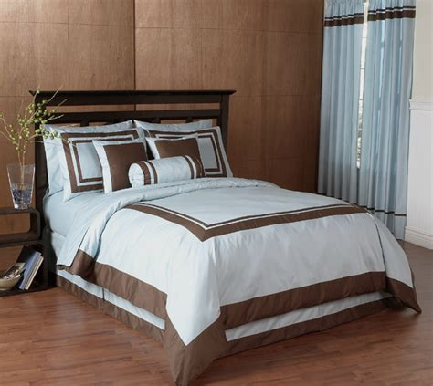 Blue And Brown Duvet Cover by King Blue Brown Bedding Hotel Duvet Comforter Cover Set