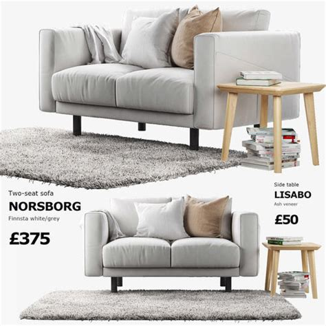 ikea sofa norsborg 3d ikea norsborg two seat sofa with side table and rug