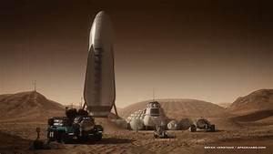human Mars: SpaceX spaceship at Mars base by Bryan Versteeg