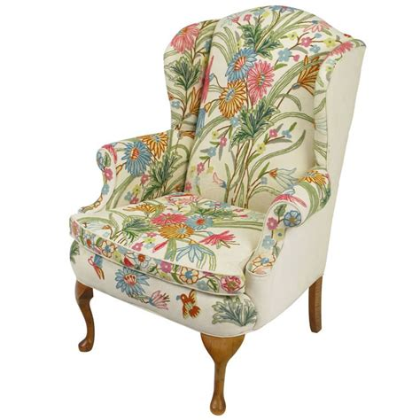 colorful floral wool crewel upholstered wing chair