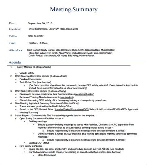 meeting summary examples  examples