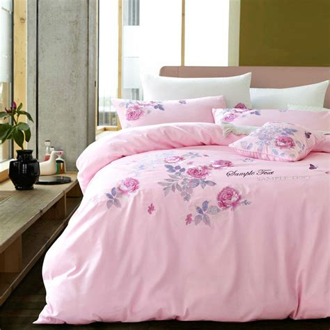 light pink sheets queen korean fresh style satin embroidery bedding sets elegant