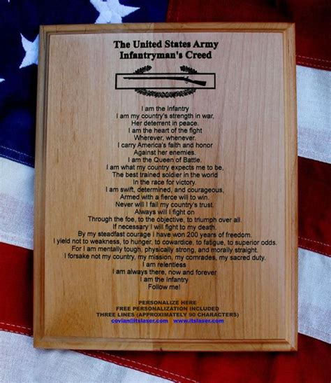 personalized  army infantrymans creed plaque expert