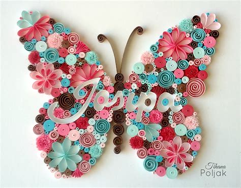 quilled butterfly quilled letters quilled name quilling