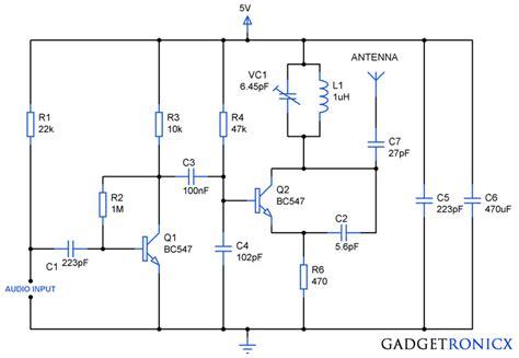 Transmitter Circuit Using Transistors Gadgetronicx