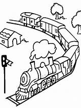 Coloring Pages Train Trains Transportation Subway Printable Railroad Freight Mycoloring Template sketch template