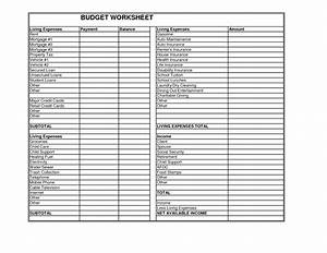worksheet living expenses worksheet hunterhq free With monthly living expenses template