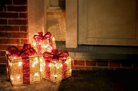 Lighted Decorated Christmas Gifts Boxes At Doorway Stock Choosing Blinds Www Com Coupon 46 Inch Window Best Deer Blind Faux Wood Cordless Lift To Go Livingston Nj Gift Ideas For Child Hillarys Nottingham Phone Number
