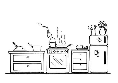 kitchen coloring page cooking acitvity in the kitchen coloring pages 3384
