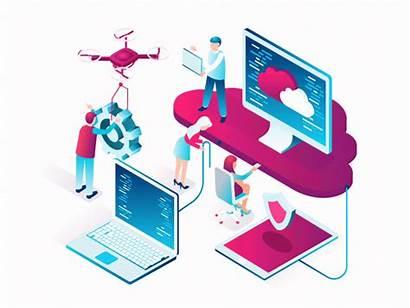 Computing Cloud Animated Trends Amaze Technology Isometric