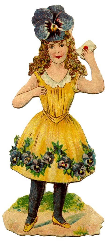 victorian scrap sweet pansy girl  graphics fairy