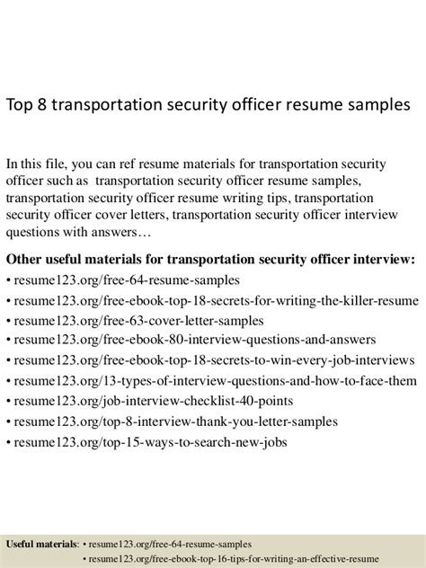 Transportation Security Manager Resume by Top 8 Transportation Security Officer Resume Sles