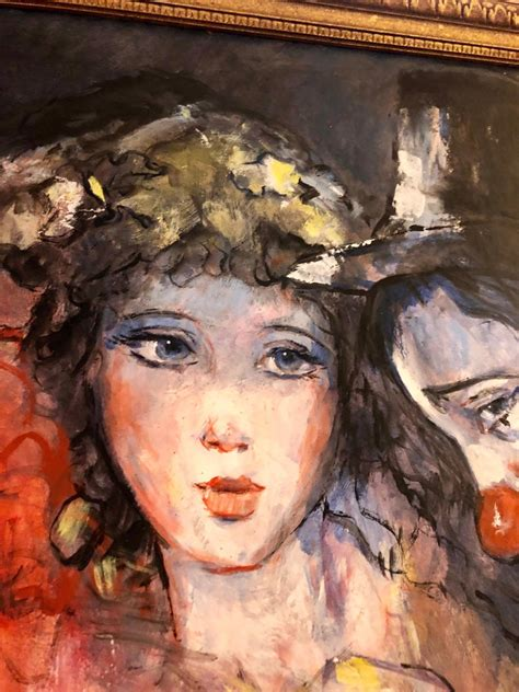 barry leighton jones large vibrant clown  maidens expressionist oil painting barry