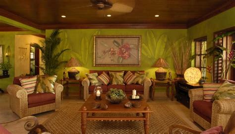 California Home Decorated To Feel Tropical Retreat by Tropical Living Room Plants As Wallpaper Design For The