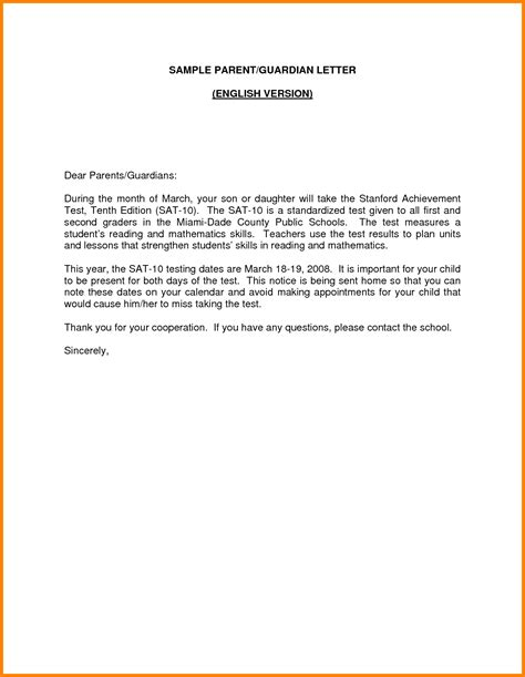 guardian cover letter examples  sample parent english