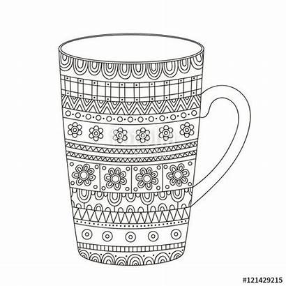 Coloring Adult Pages Doodle Coffee Cup Winter
