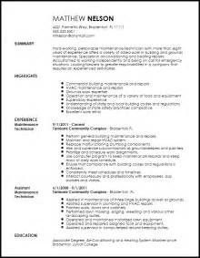 Exle Maintenance Technician Resume by Free Professional Maintenance Technician Resume Template