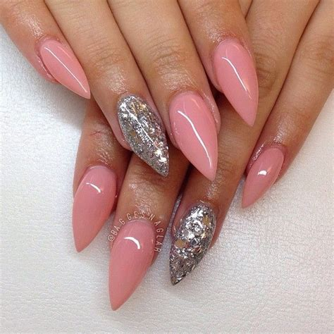 60 Glitter Nail Art Designs Art And Design Top 35 Incredible Pointed Acrylic Nails